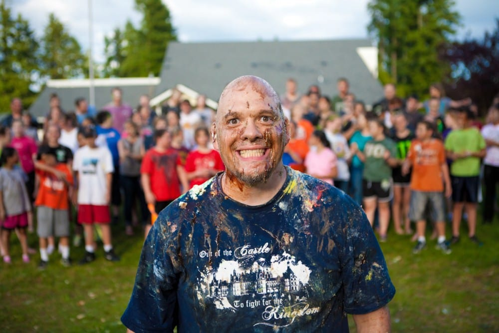 Youth Minister covered in pie