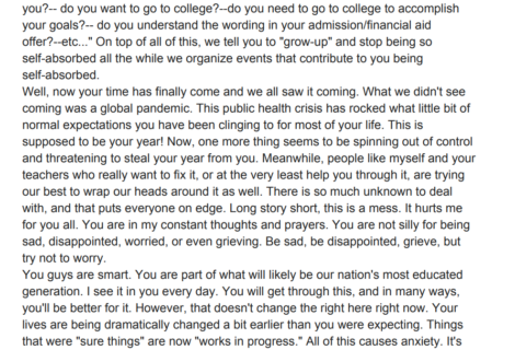 Dear seniors: high school counselor pens inspirational note