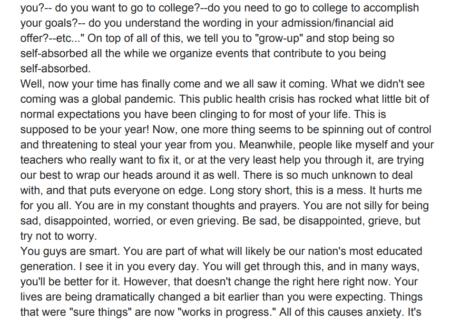 Dear seniors: high school counselor pens inspirational note